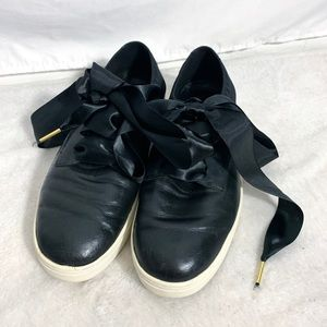 Eileen Fisher Black Leather Lace Up Sneakers